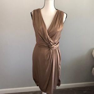 Donna Morgan gold metallic stretchy dress